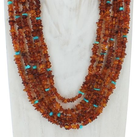 Amber and Turquoise Nested Necklace