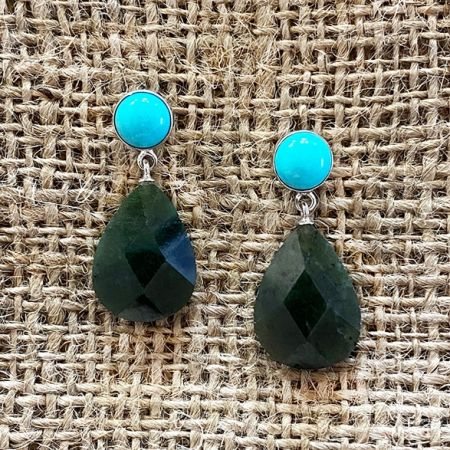 Nephrite Jade & Seven Peaks Turquoise Earrings