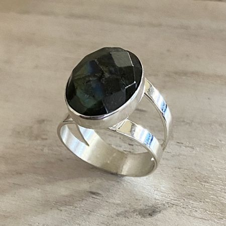 Faceted Labradorite Ring - size 7
