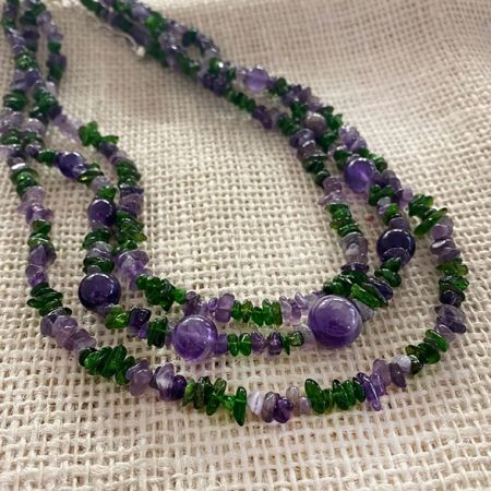 Green Diopside and Amethyst Nested Necklace
