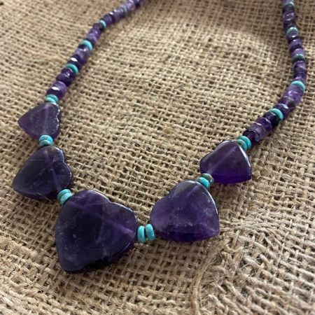 Amethyst Hearts Reversible Necklace