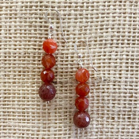Picante Agate & Strawberry Quartz Earrings