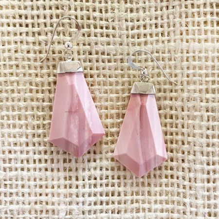 Australian Pink Opal Dangle Earrings