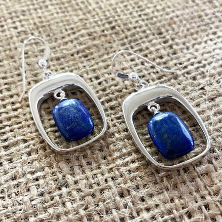 Lapis Window Earrings