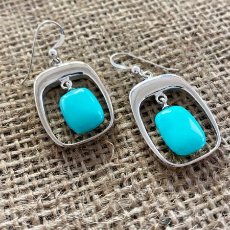 Andean Blue Turquoise Window Earrings