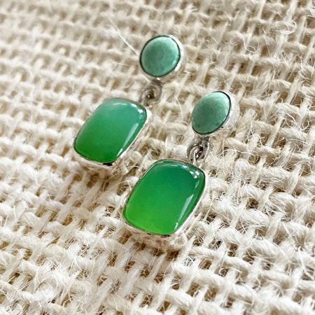Chrysoprase & Variscite Earrings