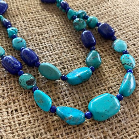 Turquoise and Lapis Medley Necklace