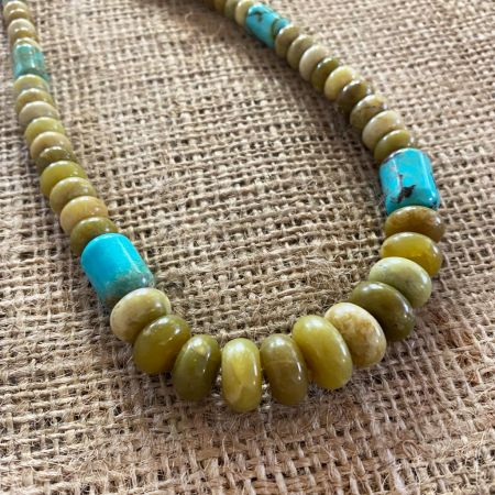 Namibian Green Opal and Chilean Turquoise Necklace