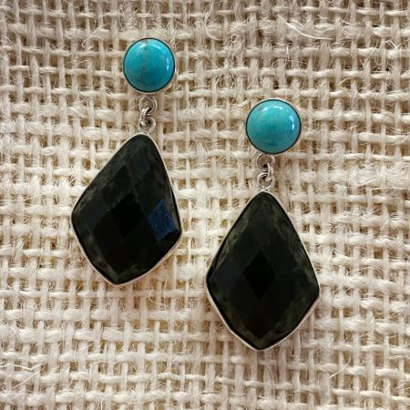 Nephrite Jade and Turquoise Earrings