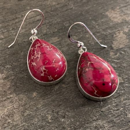 Red Emperial Jasper Tear Drop Earrings