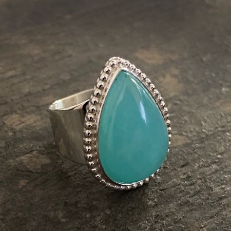 Blue Chalcedony Tear Drop Ring
