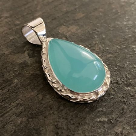 Blue Chalcedony Tear Drop Pendant