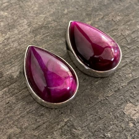 Purple Tiger Eye Tear Drop Earrings