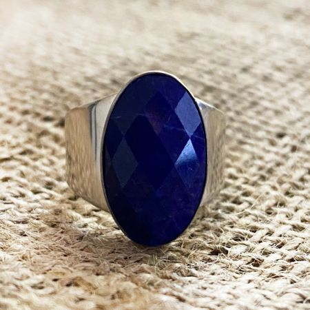 Faceted Lapis Ring - Size 10