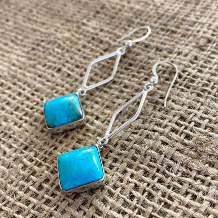 Red Skin Turquoise Dangle Earrings