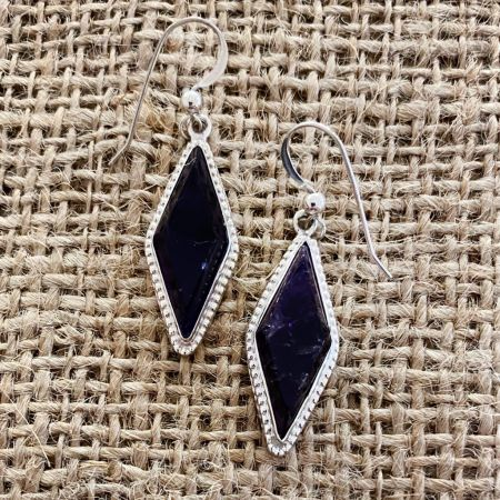 Dark Amethyst Diamond Shaped Earrings