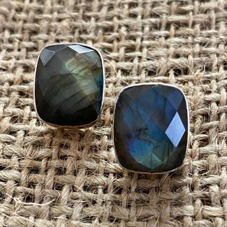Faceted Labradorite Post Earrings