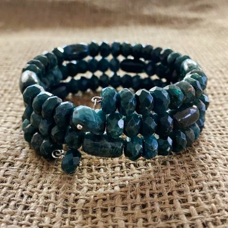 Teal Green Apatite Coil Bracelet