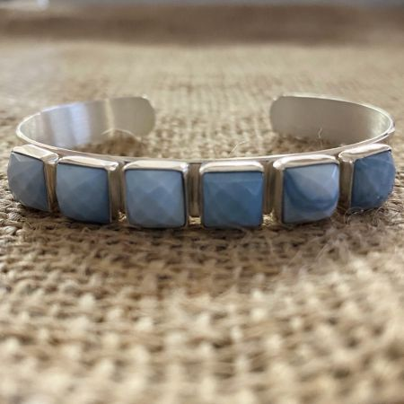 Faceted Dream Blue Opal Cuff