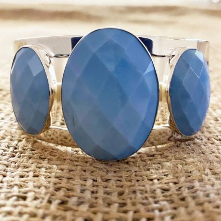 Faceted Dream Blue Opal Oval Cuff