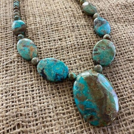 Azure Peaks Beaded Pendant Turquoise Necklace