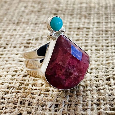 Thulite and Angel Peak Turquoise Ring