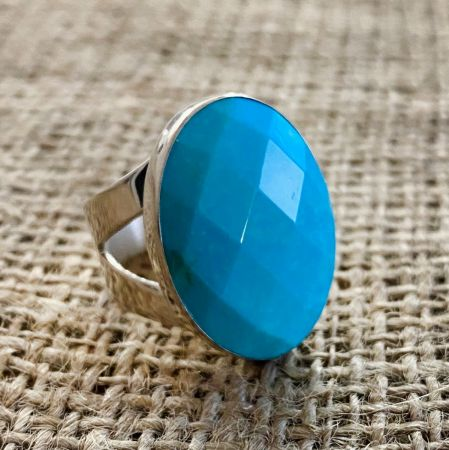 Azure Peaks Faceted Oval Ring