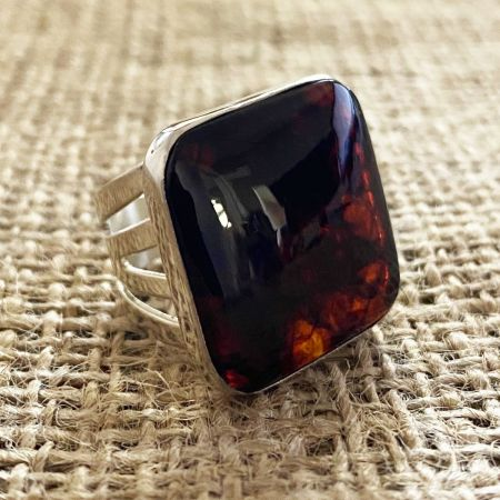 Large Amber Square Ring - Size 6