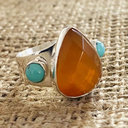 Mexican Opal and Turquoise Ring