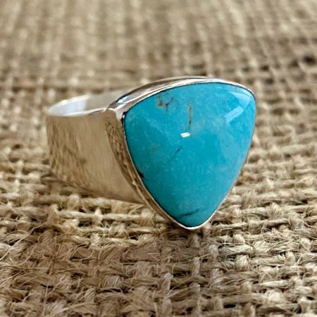Cloudy Mountain Turquoise Ring - Size 7