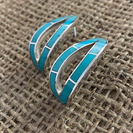 Cloudy Mountain Turquoise J-Hoop Earrings