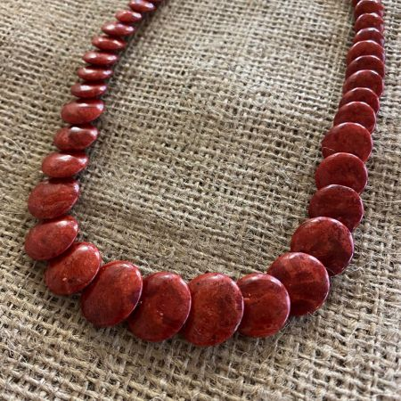 Red Coral Lentil Bead Necklace