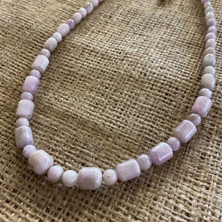Kunzite Barrel Necklace