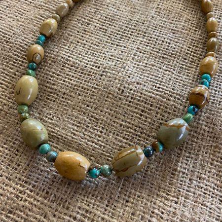 Graduated Picture Jasper and Angel Peak Turquoise Necklace