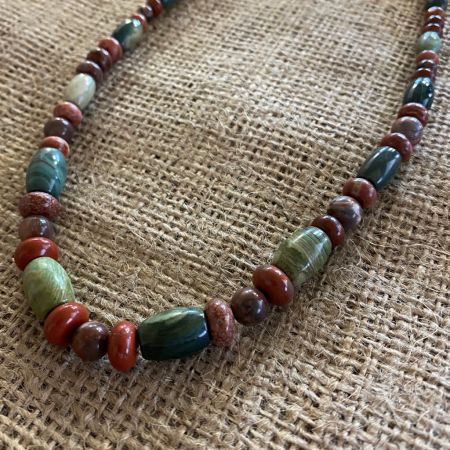 Petrified Red Wood and Swamp Bog Necklace