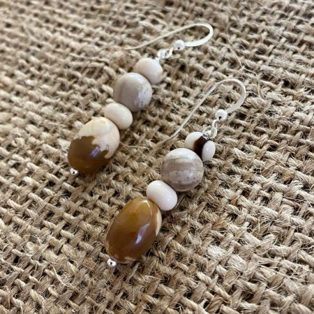 Peanut Wood Beaded Earrings