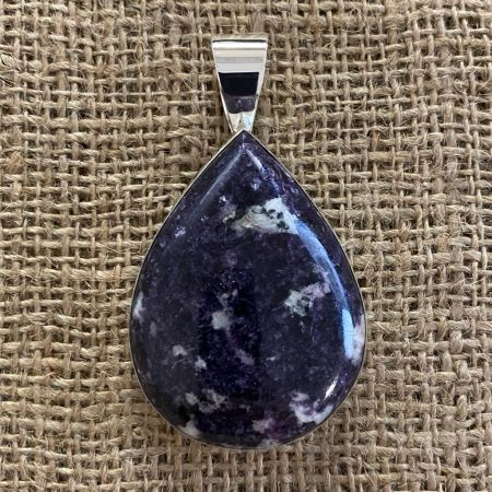 Large Purple Lepidolite Pendant