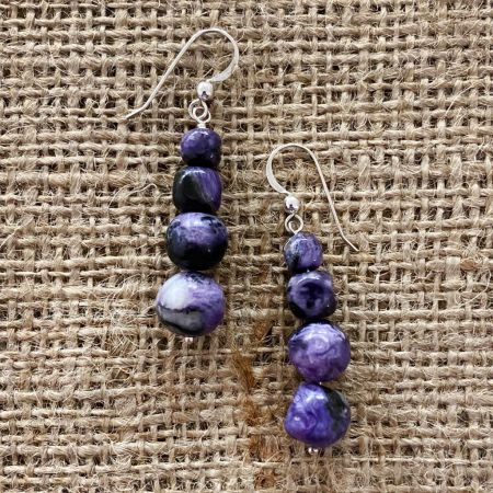 Charoite Beaded Dangle Earrings