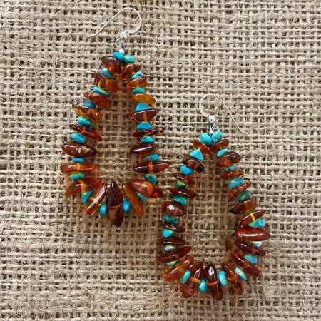 Amber and Angel Peak Turquoise Hoop Earrings
