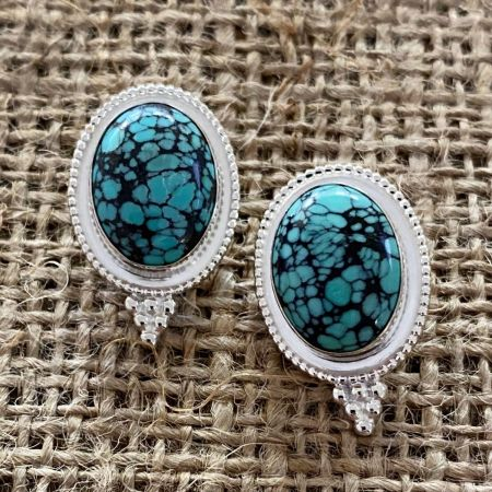 Hubei Spider Web Turquoise Post Earrings