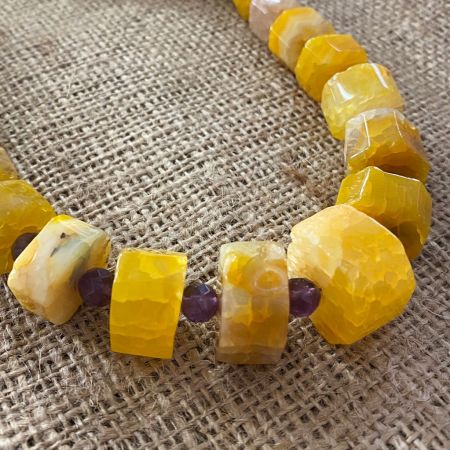 Maple Chalcedony and Amethyst Necklace