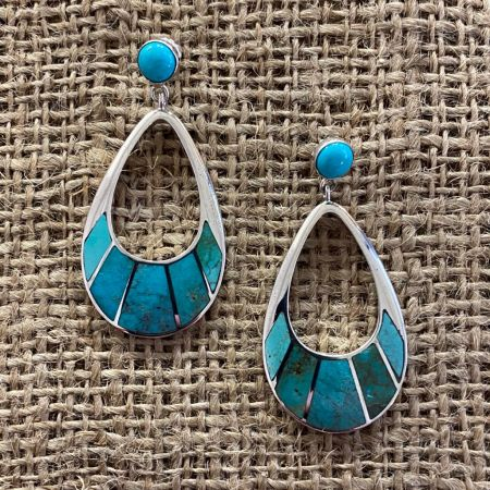 Multi Colored Turquoise Teardrop Earrings