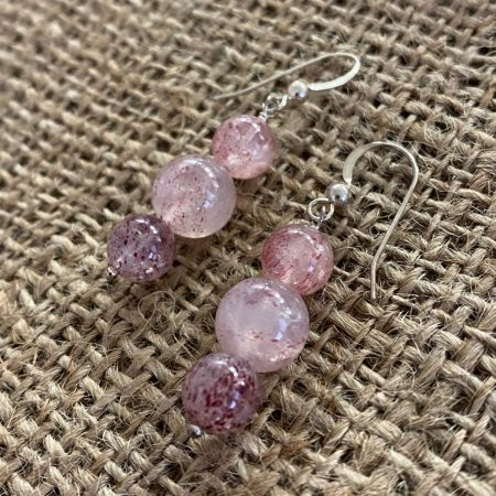 Stawberry Quartz Beaded Dangle Earrings