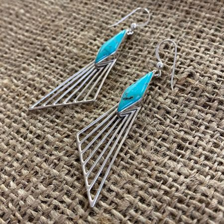 "New Red Skin Turquoise ""Wing"" Earrings"