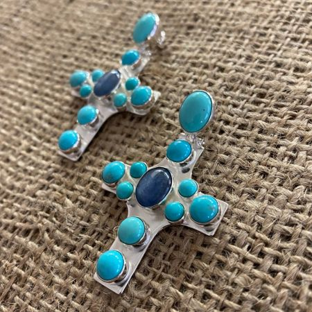 Turquoise and Kyanite Cross Earrings