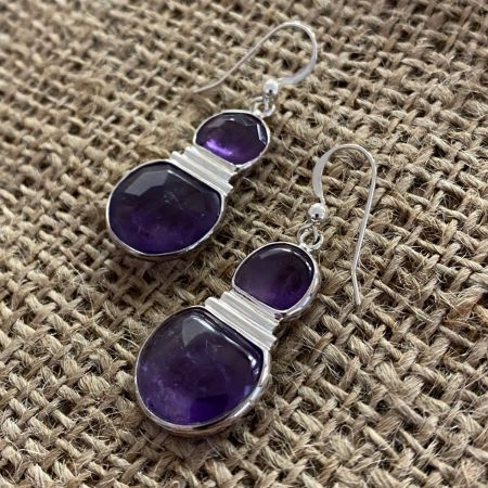 Amethyst Three Quarter Moon Earrings