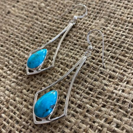 Turquoise Tear Drop Window Earrings