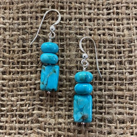 Andean Blue Turquoise Beaded Dangle Earrings