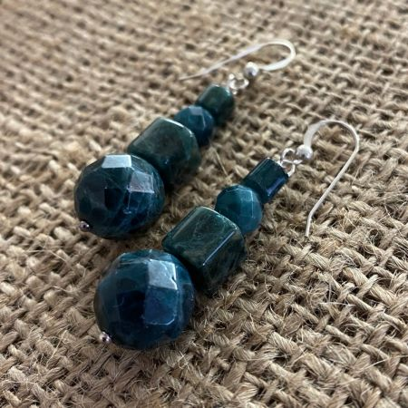 Teal Green Apatite Beaded Earrings