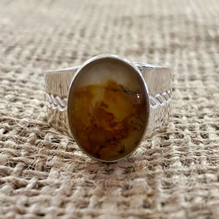 Yellow Agate Ring - Size 12